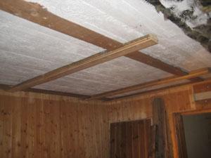 Under(ovanför) takpanelen fanns plankor och en vitmålad relativt ...